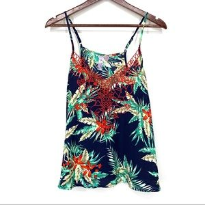 Alya Tropical Embroidered Crochet Tank Top Navy M